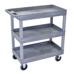 """Luxor E-Series 3-Shelf Tub Cart, 37 1/4""""H x 32""""W x 18""""D, Gray"""