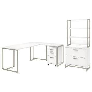 """kathy ireland Office by Bush Business Furniture Method 72""""W L Shaped Desk with 30""""W Return, File Cabinets and Hutch, White, Standard Delivery"""