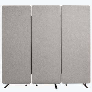 """Luxor RECLAIM Acoustic Privacy Panel Room Dividers, 66""""H x 24""""W, Misty Gray, Pack Of 3 Room Dividers"""