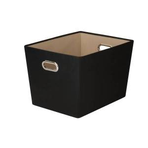 "Honey Can Do Honey-Can-Do Large Decorative Storage Bin With Handles, 18 3/4""L x 14 3/8""W x 12 5/8""H, Black"