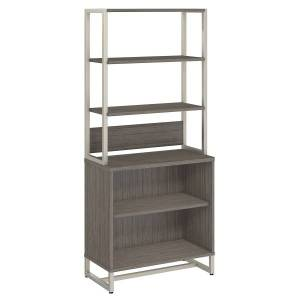 kathy ireland Office by Bush Business Furniture Method Bookcase with Hutch, Cocoa, Standard Delivery