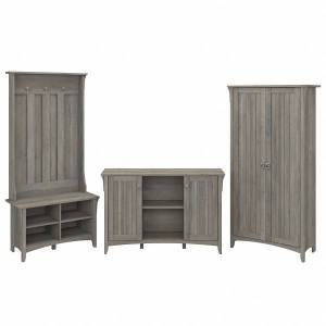 Bush Furniture Salinas Entryway Hall Tree/Shoe Storage Bench, Accent Storage Cabinet, and Tall Storage Cabinet, Driftwood Gray, Standard Delivery