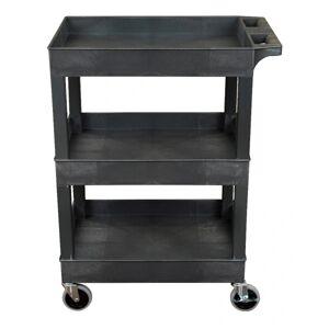 "Luxor 3-Shelf Plastic Utility Cart, 36-1/4""H x 24""W x 18""D, Black"