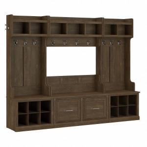 kathy ireland Home by Bush Furniture Woodland Full Entryway Storage Set With Coat Rack And Shoe Bench With Doors, Ash Brown, Standard Delivery