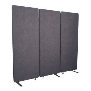 "Luxor RECLAIM Acoustic Privacy Panel Room Dividers, 66""H x 24""W, Slate Gray, Pack Of 3 Room Dividers"