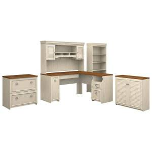"""Bush Furniture Fairview 60""""W L Shaped Desk With Hutch, Storage Cabinets And 5 Shelf Bookcase, Antique White/Tea Maple, Standard Delivery"""