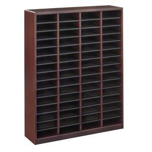 """Safco E-Z Stor Wood Literature Organizer, 60 Compartments, 52 1/4""""H, Mahogany"""