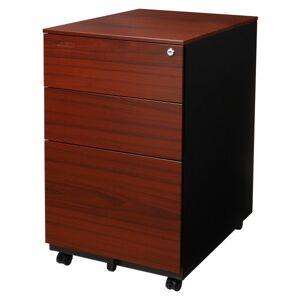 "Aurora SOHO 24""D Vertical 3-Drawer Mobile File Cabinet, Metal, Metallic Charcoal/Red Teak"