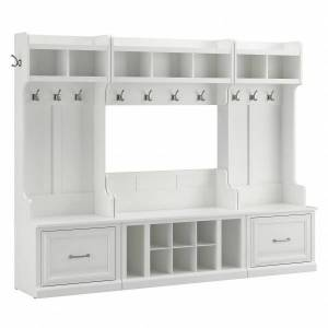 kathy ireland Home by Bush Furniture Woodland Full Entryway Storage Set With Coat Rack And Shoe Bench With Drawers, White Ash, Standard Delivery