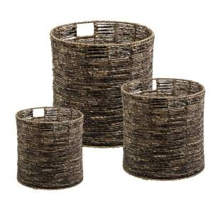 Honey Can Do Coastal Collection Nesting Storage Bins With Handles, Brown Maize, Set Of 3
