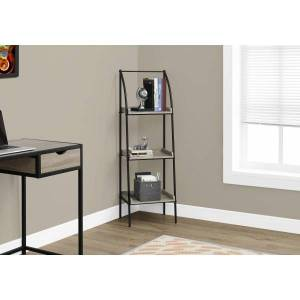 Monarch Specialties 3-Shelf Backless Metal Bookcase, Dark Taupe/Black