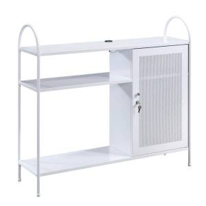 Sauder Cottage Road Storage Cabinet With USB Ports, 4 Fixed Shelves, White