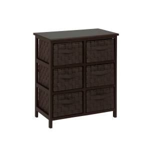 "HONEY-CAN-DO INTERNATIONAL, LLC Honey-can-do TBL-03759 Woven Strap 6 Drawer Chest with Wooden Frame - 21.5"" x 12"" x 24"" - 6 x Drawer(s) - Espresso Black - Wood, Natural Wood, Fabric"