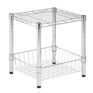 "HONEY-CAN-DO INTERNATIONAL, LLC Honey-can-do SHF-01503 Urban Table w/ Storage Basket, Chrome - 16"" Height x 15"" Width14"" Length - Steel"