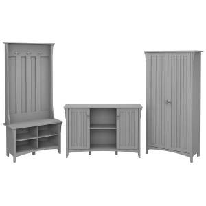 Bush Furniture Salinas Entryway Storage Set With Hall Tree, Shoe Bench And Accent Cabinets, Cape Cod Gray, Standard Delivery