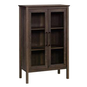 "Sauder Anda Norr Bookcase Display Cabinet, 3-Shelf, 51""H, Smoked Oak"