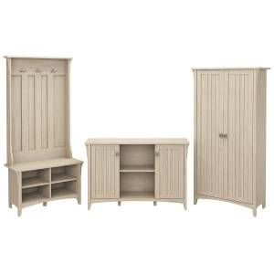 Bush Furniture Salinas Entryway Storage Set With Hall Tree, Shoe Bench And Accent Cabinets, Antique White, Standard Delivery