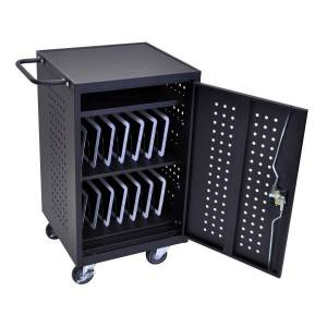 "Luxor LLTM30-B 30-Tablet Charging Cart, 36 3/4""H x 26""W x 20 1/4""D, Black"