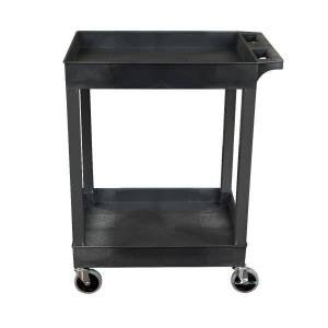 "Luxor 2-Shelf Plastic Utility Cart, 34-1/4""H x 24""W x 18""D, Black"