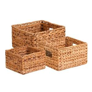 HONEY-CAN-DO INTERNATIONAL, LLC Honey-can-do 3Pk Natural Baskets Set - Woven Banana Leaf - Natural Brown - For Sport Equipments, CD/DVD, Toy, Book, Toiletries - 3 / Pack