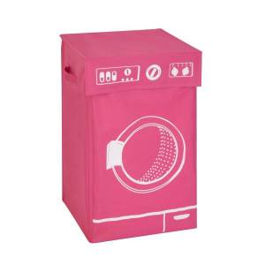 """Honey Can Do Honey-Can-Do Square Hamper With Lid, 23 1/2"""" x 14"""" x 14"""", Pink"""