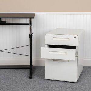 """Flash Furniture Ergonomic 21""""D Vertical 3-Drawer Mobile Locking Filing Cabinet, Metal, White"""