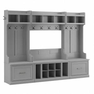 kathy ireland Home by Bush Furniture Woodland Full Entryway Storage Set With Coat Rack And Shoe Bench With Drawers, Cape Cod Gray, Standard Delivery