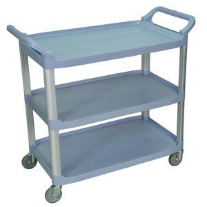 """Luxor 3-Shelf Serving Cart, 37 1/4""""H x 40 1/2""""W x 19 3/4""""D, Gray"""