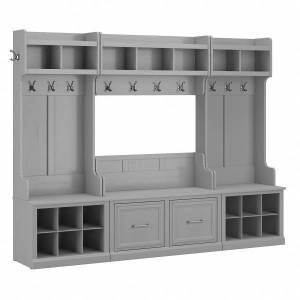 kathy ireland Home by Bush Furniture Woodland Full Entryway Storage Set With Coat Rack And Shoe Bench With Doors, Cape Cod Gray, Standard Delivery