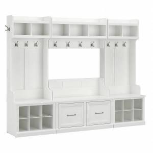 kathy ireland Home by Bush Furniture Woodland Full Entryway Storage Set With Coat Rack And Shoe Bench With Doors, White Ash, Standard Delivery