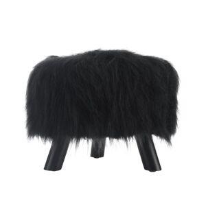 Linon Home Dcor Products Claire Faux Fur Ottoman, Black
