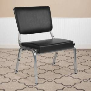 Flash Furniture HERCULES Antimicrobial Bariatric Medical Reception Chair With 3/4-Panel Back, Black/Silver Vein