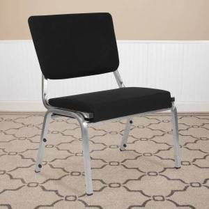Flash Furniture HERCULES Antimicrobial Fabric Bariatric Medical Reception Chair With 3/4-Panel Back, Black/Silvervein