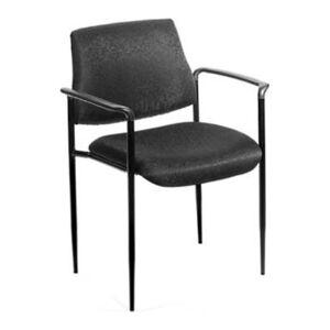 "Boss B9503-BK Fabric Seat, Fabric Back Stacking Chair, 18"" Seat Width, Black Seat/Black Frame, Quantity: 1"