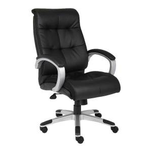 Lorell Tufted Executive Bonded Leather Swivel Chair, Black