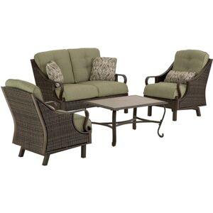 "Hanover Ventura 4-Piece Seating Set in Vintage Meadow - VENTURA4PC - 49"" x 31"" x 35.5"" Loveseat, 32"" x 26.5"" x 34"" Chair, 35.5"" x 25"" x 18.5"" Coffee T"