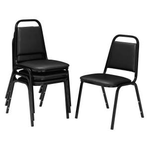 """National Public Seating Square Back Padded Vinyl Seat, Stacking Chair, 15 3/4"""" Seat Width, Black Seat/Black Frame, Quantity: 4"""