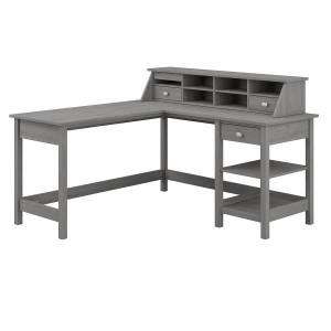 """Bush Furniture Broadview 60""""W L-Shaped Computer Desk With Storage And Desktop Organizer, Modern Gray, Standard Delivery"""