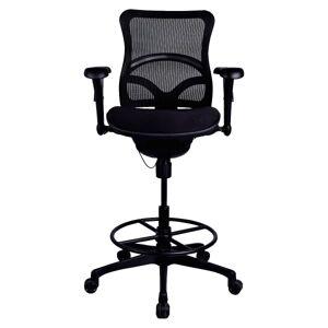 Lorell Mesh Mid-Back Fabric Seat Stool, Black