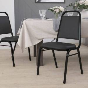Flash Furniture HERCULES Series Trapezoidal-Back Stacking Banquet Chair With Thick Seat, Black