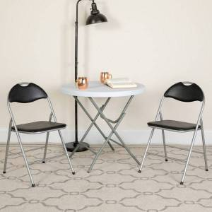 Flash Furniture Hercules Vinyl Metal Folding Chairs, Set Of 4 Folding Chairs, Black