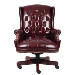 """Boss Office Products Traditional High-Back Chair, 44""""H, Burgundy/Mahogany"""