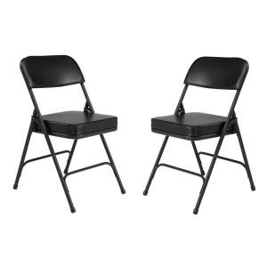 National Public Seating Vinyl-Upholstered Folding Chairs, Black, Set Of 2 Chairs
