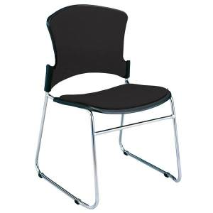 OFM Multi-Use Stack Chairs, Fabric Seat & Back, Black, Set Of 4