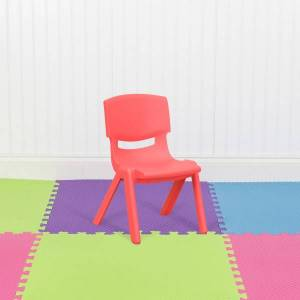 "Flash Furniture 10-1/2""H Plastic Stackable School Chair, Red"