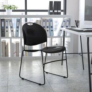 Flash Furniture HERCULES Plastic Ultra-Compact Stack Chair, Black