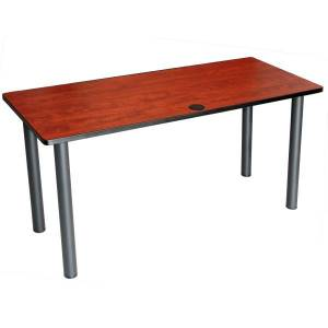 """Boss Office Products 60""""W Training Table With Post Legs, Cherry/Black"""