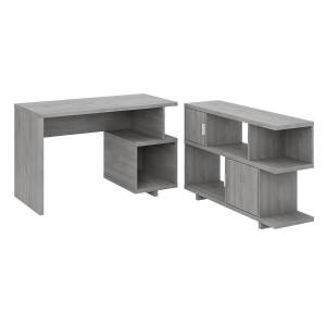 """Bush kathy ireland Home by Bush Furniture Madison Avenue 48""""W Writing Desk With Low Bookcase, Modern Gray, Standard Delivery"""