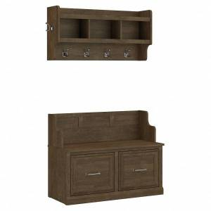 """kathy ireland Home by Bush Furniture Woodland 40""""W Entryway Bench With Doors And Wall-Mounted Coat Rack, Ash Brown, Standard Delivery"""