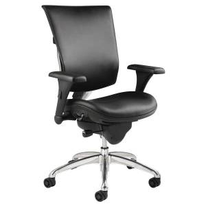 WorkPro 768E Commercial Bonded Leather High-Back Chair, Black